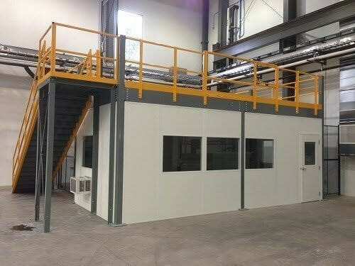 inplant modular office with mezzanine
