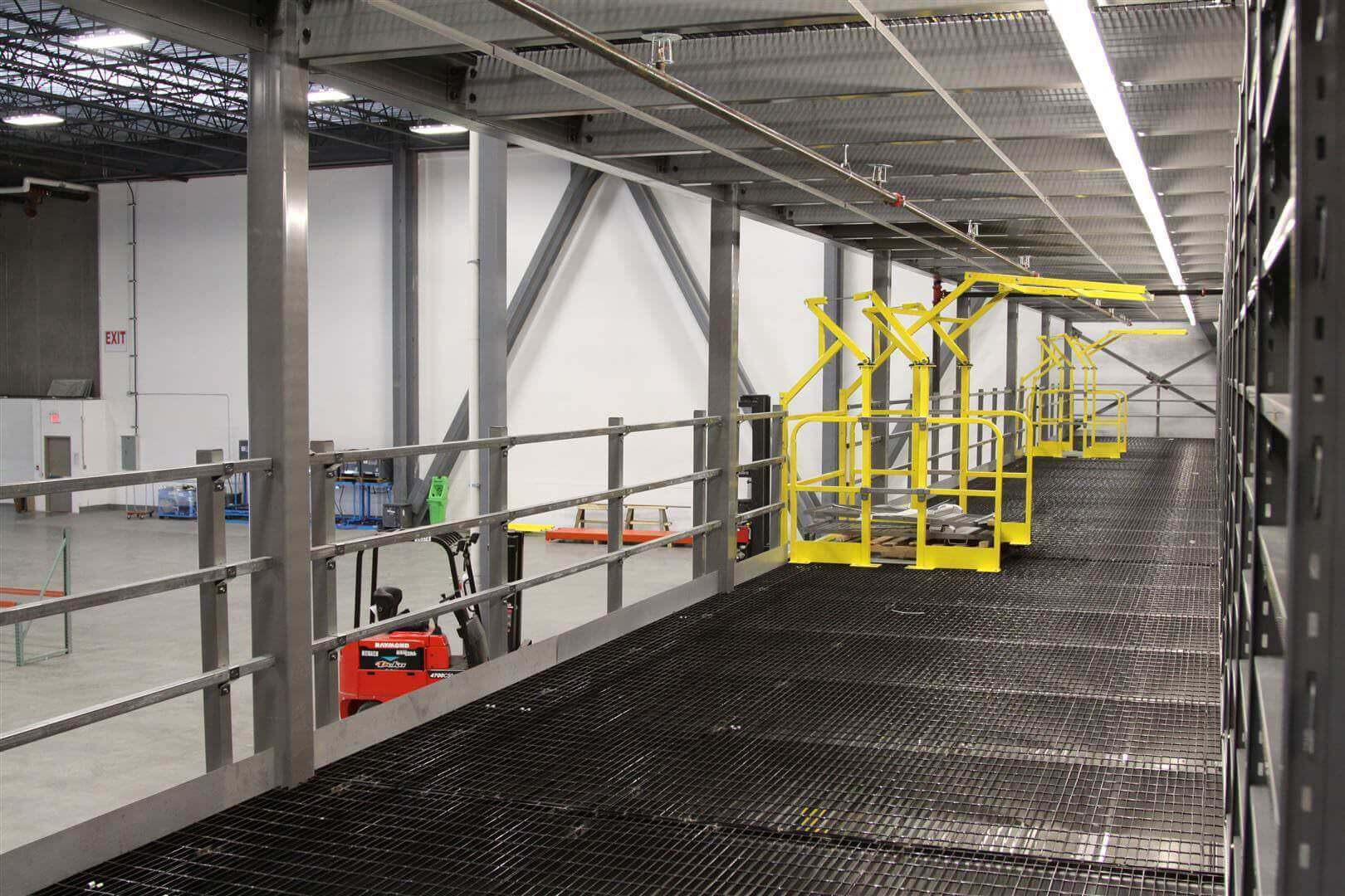 Mezzanine Platform with Bar Grate and Pivot Gate